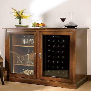 Amazon Com Siena Mezzo Wine Credenza With 28 Bottle Touchscreen Fridge Wine Cellar Cooling Systems Kitchen Dining