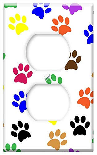 (Switch Plate Outlet Cover - Pawprints Paw Prints Paw Animal Pet Dog Design)