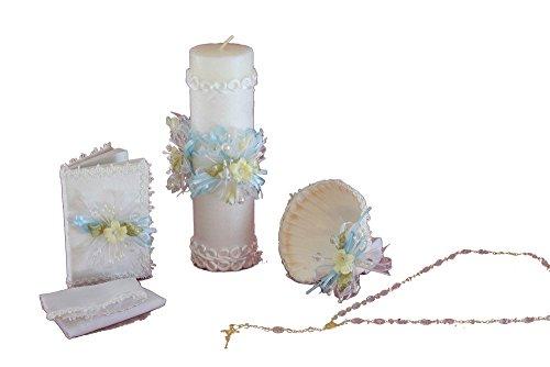 . Bautizo Complete Set. Shell, Napkin, Rosary,Candle, Prayer Book. B114 ()