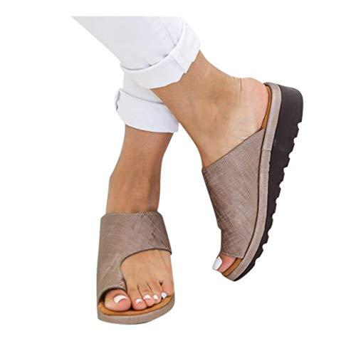 New Women Comfy Platform Sandal Shoes Summer Beach Travel Shoes Fashion Sandals Comfortable Ladies Shoes Womens Flats Wedges Open Toe Ankle Roman Slippers Sandals (38, Brown)