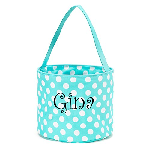 Personalized Childrens Fabric Bucket Tote Bag - Toys- Easter (Personalized Aqua Dot)