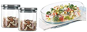 Borosil Classic Glass Jar for Kitchen Storage, Set of 2, (600ml + 600ml) & Oval Baking Dish, 700ml, Transparent Combo