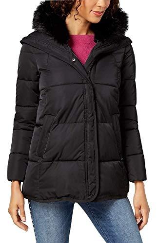 T Tahari Women's Midlength Wide Quilt Puffer Outerwear, Black, XS