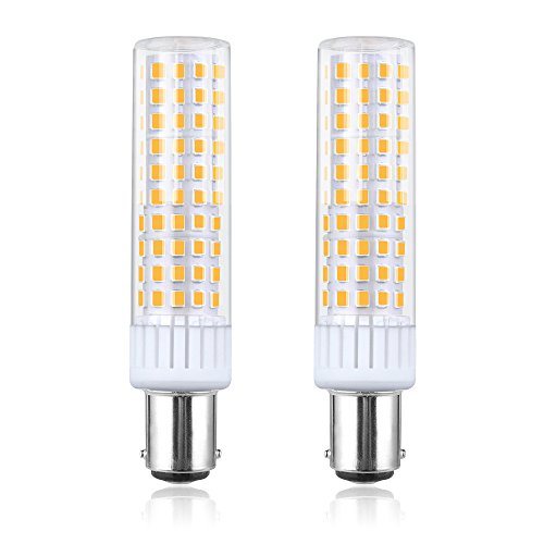 Bonlux 120V Dimmable LED BA15D Light Bulb, 8.5W BA15D Double Contact Bayonet Base LED Bulb - 100W Halogen JD Type T4 Replacement Bulb Warm White for Chandelier Crystal Sewing Machine Light (2-Pack) - Base T4 Volt Ba15d 130