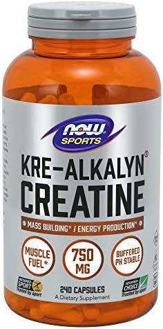 NOW Sports Nutrition, Kre-Alkalyn Creatine 750 mg, Mass Building* Energy Production*, 240 Capsules