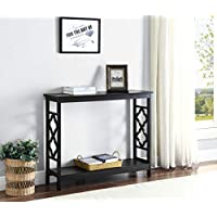 Black Finish 2-Tier Quatrefoil Design Occasional Console Sofa Table Bookshelf