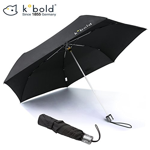 Price comparison product image Kobold Unisex Adult Umbrellas Compact Windproof 3 Fold Outdoor 6 Rib Travel Umbrella Black