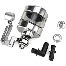 Oumurs Motorcycle Brake Clutch Cylinder Fluid Reservoir Oil Cup with Mounting Bracket Set CNC Machined Aluminum Universal for Honda Yamaha Suzuki Harley Ducati CBR GSXR YZF (Silver)