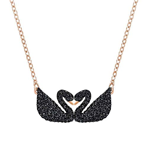 (Swarovski Iconic Swan Double Necklace, Black 5296468 Length: 14 7/8 inches )