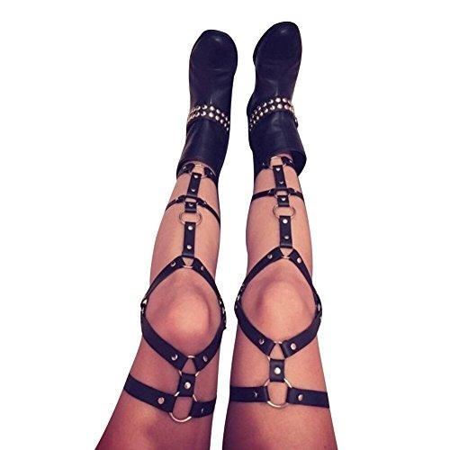 Leather Body - CKMORLS Women's PU Leather Body Harness Belt Adjustable Punk Waist Leg Garter Belt(025Black)