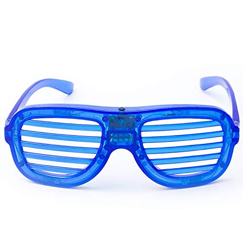 Fun Central R375, 1 Pc, Blue LED Light Up Slotted Shades,LED Light Up Slotted Shades, Glow in The Dark Slotted Shades, Flashing Glasses, Glow Eyeglasses, Glow in The Dark Glasses, LED Fun Shades