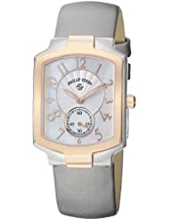 Philip Stein Womens 21TRG-FW-IPL Classic Platinum Silk on Leather Strap Watch