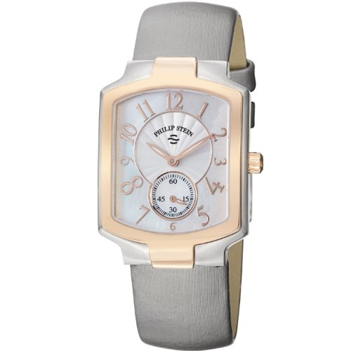 Philip Stein Women's 21TRG-FW-IPL Classic Platinum Silk on Leather Strap Watch