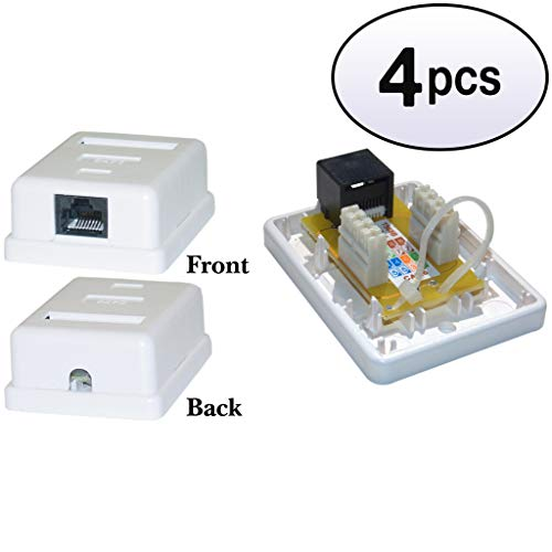 GOWOS (4 Pack) Cat6 Single Jack Surface Mount Box, Female, Unshielded, White