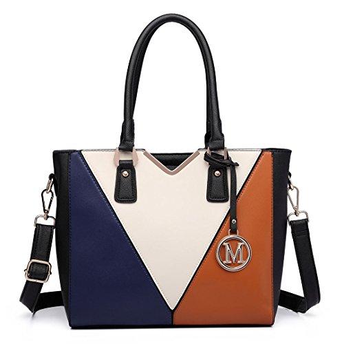 Leather Patchwork Ladies Girls Shoulder Women Handbag for V Design Lulu Shape 6632 Miss Tote Brown Bag YFxwnEgn