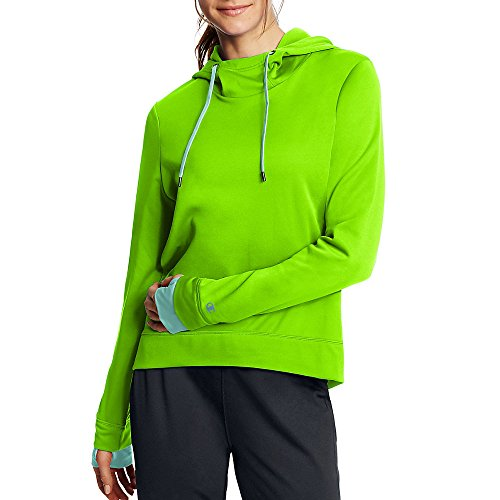 Champion Women's Tech Fleece Pullover Hoodie_Forging Green/Viridian Mint_S