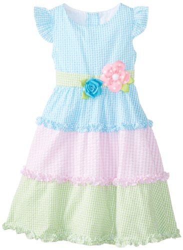 Rare Editions Girls 2-6X Colorblock Seersucker Dress, Turquoise/Pink/Lime, 4T