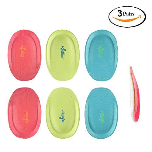 (Softior Comfort Memory Foam Heel Cushions for Flat Walking Shoes, Pack 3-Pairs (L: Size 9-14) )