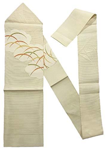 寸法視聴者オークションリサイクル 八寸名古屋帯 正絹 夏物 絽綴れ 雲取りに芝文
