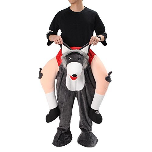 Ride On Riding Shoulder Adult Baby Beer Guy Christmas Halloween Costume Unisex Fancy Dress (Wolf)