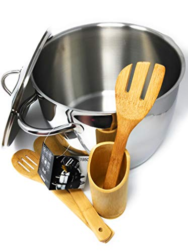 (LLT MEPRA Stainless Steel 13.75qt Stock Pot bundle - includes BONUS Bamboo Utensil Set with)