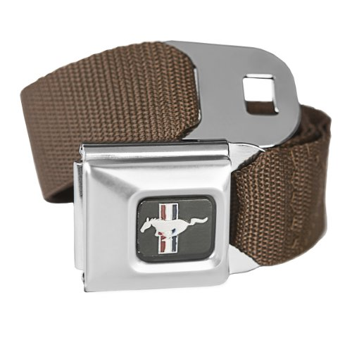 Brown Ford Mustang Seatbelt Buckle Fashion Belt - Officially Licensed (Licensed Officially Belt)