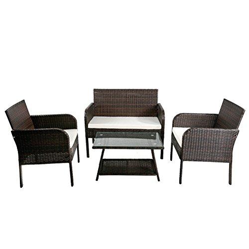Harper&Bright Designs 4-piece PE Rattan Patio Dining Set ...