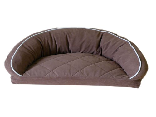 CPC Diamond Quilted Semi Circle Chocolate Lounge for Dogs and Cats with Linen Piping, 35 x 23 x 12-Inch