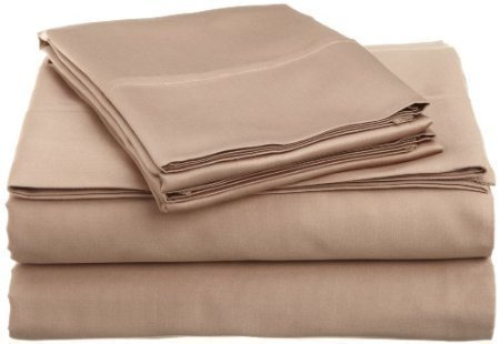 100% Cotton Pillowcases - Set of 2 King, Solid Beige - 300TC, Pair of Pillow (300tc Solid Sheet Set)