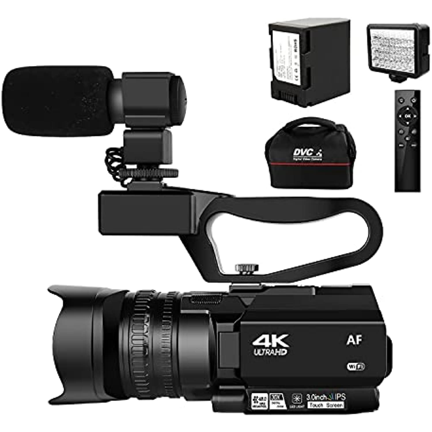 4K HD Auto Focus Video Camera 48MP 60FPS 30X Digital Zoom Camera for YouTube with LED Fill Light Camcorder 4500mAh Battery, Remote Control, Handheld, Microphone and 64G SD Card SD Card