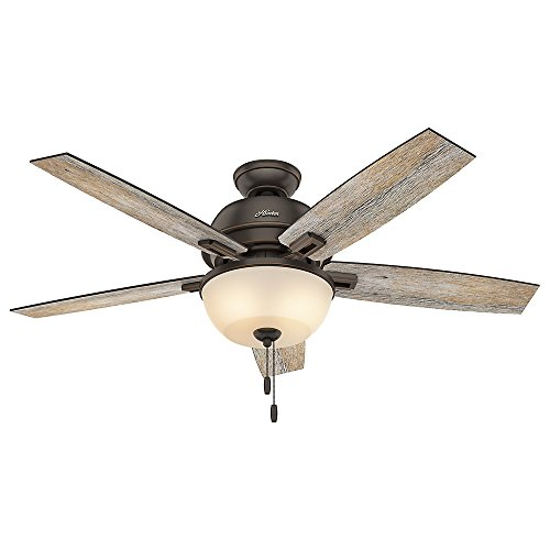 Hunter Indoor Ceiling Fan with light and pull chain control – Donegan 52 inch, Onyx Bengal, 53333