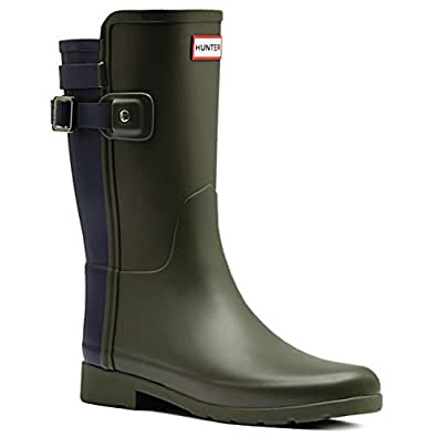 Hunter Womens Original Refined Back Strap Short Wellingtons Rain Boots - Dark Olive/Navy - 5