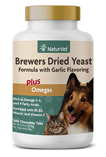 NaturVet - Brewer's Dried Yeast Formula with Garlic Flavoring - Plus Omegas - Rich in Omega-3, 6 & 9 Fatty Acids - Fortified with B1, B2, Niacin & Vitamin C - for Dogs & Cats - 500 Chewable Tablets
