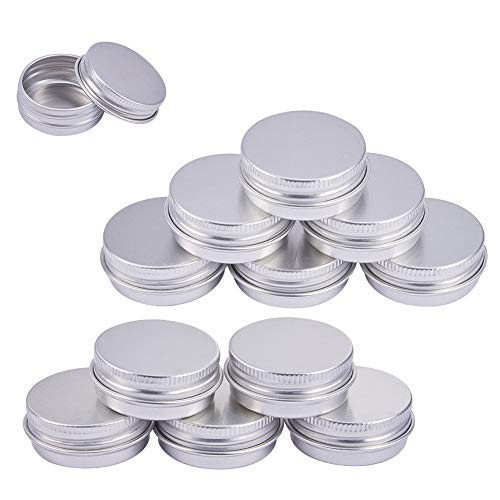 BENECREAT 30 Pack 0.5 OZ Tin Cans Screw Top Round Aluminum Cans Screw Lid Containers - Great for Store Spices, Candies, Tea or Gift Giving (Platinum)