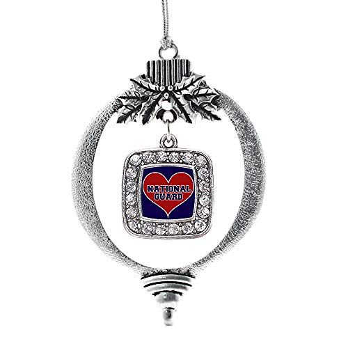 Inspired Silver - National Guard Charm Ornament - Silver Square Charm Holiday Ornaments with Cubic Zirconia Jewelry (Army National Guard Jewelry)