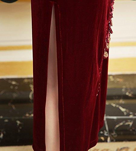 Kragen Damen Cheongsam ACVIP Velours Elegant Art Schlitz Chinesische Weinrot Lang 1TxqZ5w