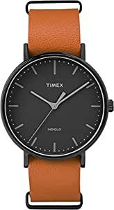 Timex TW2P91400GP Weekender Fairfield Black Dial and Leather NATO Strap Watch