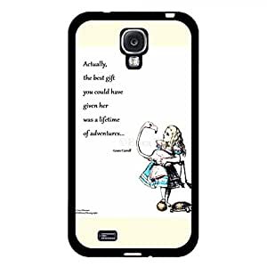 Custom Quotation Alice In Wonderland Phone Case Hard Plastic Case Cover For Samsung Galaxy S4,Alice in Wonderland Durable Cellphone Case(Black)