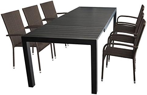 7 piezas. Mobiliario de jardín mesa extensible, marco de aluminio, polywood mesa placa Negro, 224/284/
