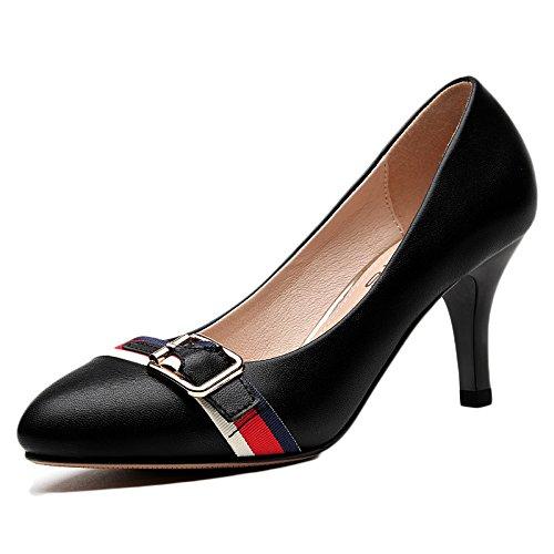 Donna Alti 5 39 Party Nightclub Lavoro Moda Nero Tacchi Sexy Black UK da Corte Scarpe Sposa 6 EU Scarpe Donna da 7cm 1EA7qwU