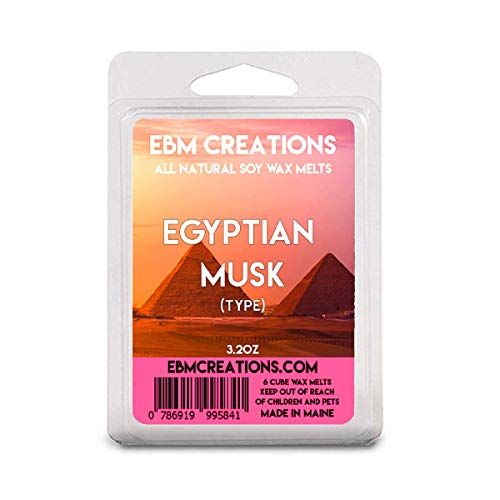 Egyptian Musk (Type) - Scented All Natural Soy Wax Melts - 6 Cube Clamshell 3.2oz Highly - Musk Candle