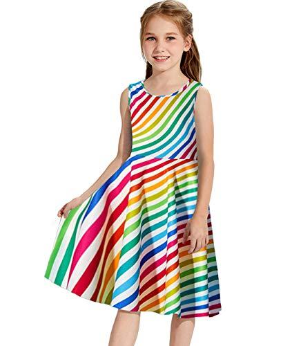 (Idgreatim Girls Summer Printed Colorful Rainbow Sleeveless Round Neck Dress)
