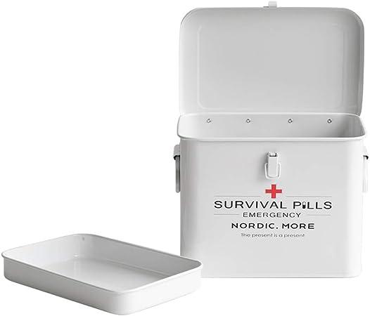 NSAIH Botiquín de Primeros Auxilios Caja de Almacenamiento de medicamentos, Caja de Almacenamiento de Medicina de Metal,Blanco,Botiquín botiquín de Primeros Auxilios: Amazon.es: Hogar