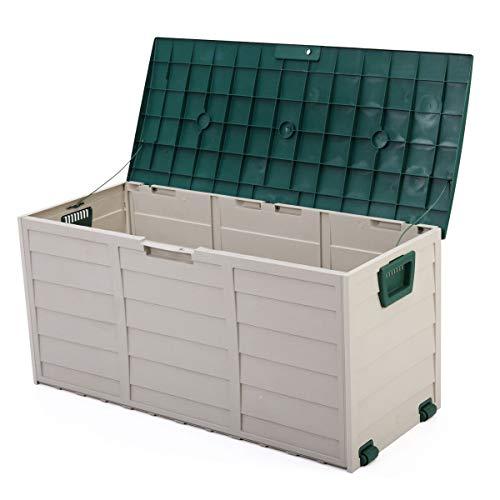 "Cypressshop Patio Sheds Outdoor Garden Storage 44"" Deck Box Organiner Backyard Tool Bench Container 79 Gallon Green Gray Weartherproof"