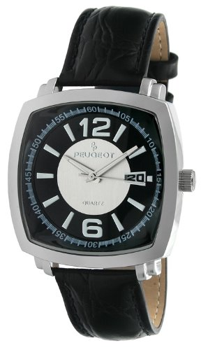 Peugeot Men's 2032S Silver-Tone Black Leather Strap Watch