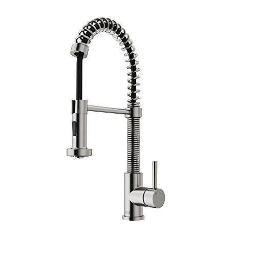 VIGO VG02001ST Edison Brass Single Handle Pull Down Sprayer Kitchen Sink Faucet, Centerset Single Hole Faucet, Swivel Head Design, Plated Stainless Steel Finish (Kitchen Vigo Faucet)