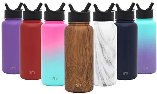 Simple Modern 18 oz Summit Water Bottle with Straw Lid - Gifts for Kids Hydro Vacuum Insulated Tumbler Flask Double Wall Liter - 18/8 Stainless Steel Pattern: Wood Grain ()