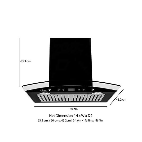 Hindware 60cm 1000 m3/hr Chimney (Lino BLK 60 Plus, 2 Baffle Filters, Black)