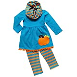 So Sydney Toddler Girls 3 Pc Halloween Fall Tunic Top Leggings Outfit, Infinity Scarf (M (4T), Pumpkin Stripe Blue)
