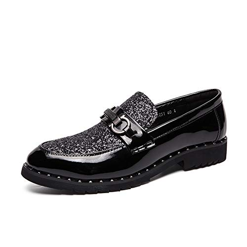 - Dig dog bone Men's Fashion Oxford Casual Personality Metallic Decoration Patent Leather Formal Shoes Bright Color (Color : Black, Size : 6.5 D(M) US)